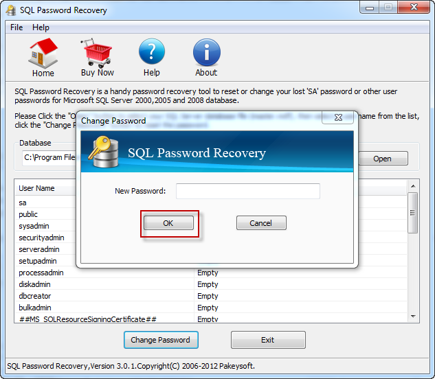 SQL Password Recovery User Guide - screenshot