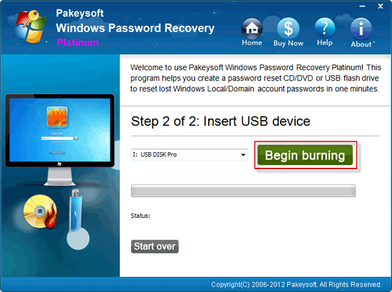 Windows Password Recovery Platinum User Guide - Begin Burning