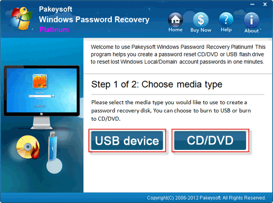 Windows Password Recovery Platinum User Guide - Choose Media Type