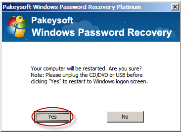 Windows Password Recovery Platinum User Guide - Reboot Dialog