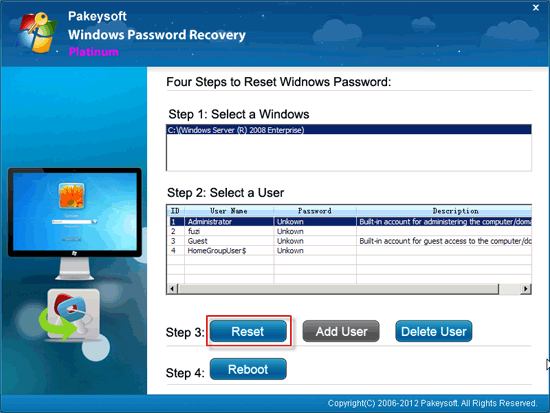 Windows Password Recovery Platinum User Guide - Reset Password