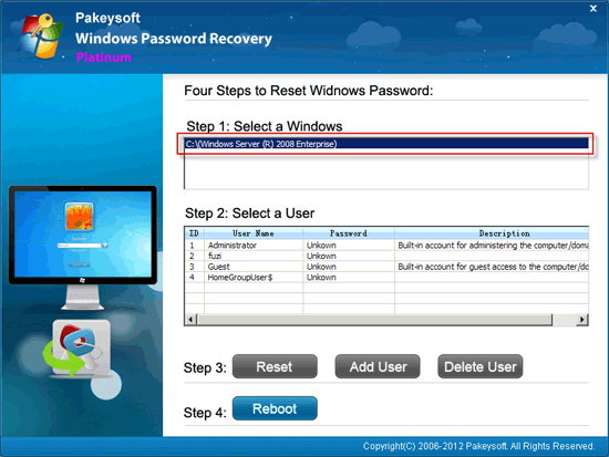 Windows Password Recovery Platinum User Guide - Select System