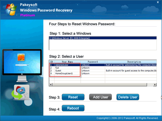 Windows Password Recovery Platinum User Guide - Select User