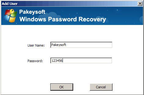 Windows Password Recovery Ultimate User Guide - Add User Dialog