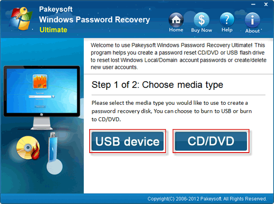 Windows Password Recovery Ultimate User Guide - Choose Media Type