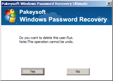Windows Password Recovery Ultimate User Guide - Delete User Dialog