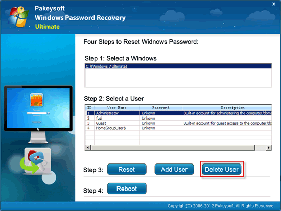 Windows Password Recovery Ultimate User Guide - Delete User