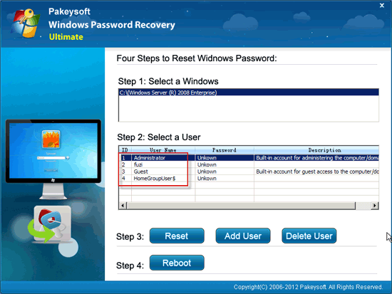 Windows Password Recovery Ultimate User Guide - Select Domain User
