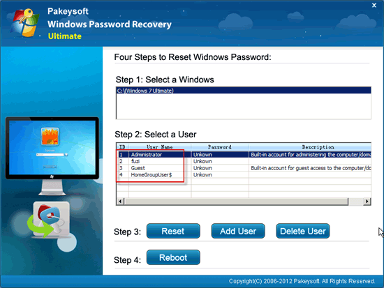Windows Password Recovery Ultimate User Guide - Select User
