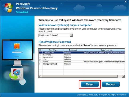 Settings about how to reset windows password