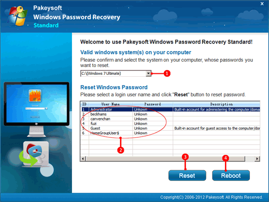 Recover password windows 7