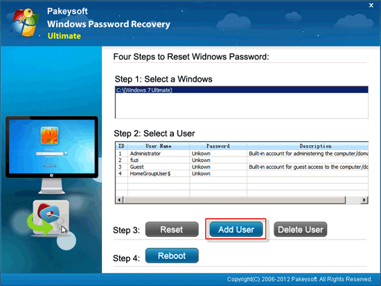 how to reset password on windows 7