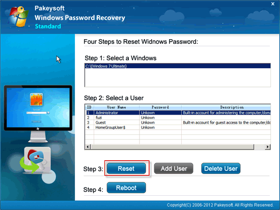 reset password windows 7